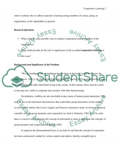 Cooperative Learning . Research Proposal example