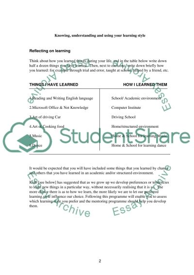 Knowing, understanding and using your learning style