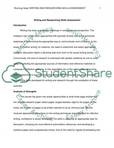 Writing and Researching Skills Self-Assessment essay example
