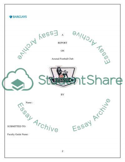 Sponsoring Arsenal Football Club essay example