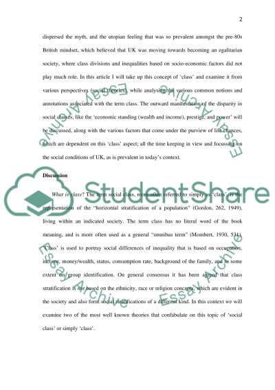 Sociology. Describe and evaluate the influence of CLASS on life chances in Britain essay example