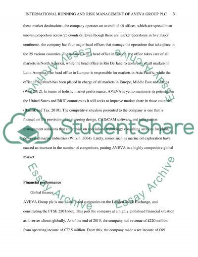 International running and risk management of AVEVA Group plc essay example