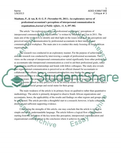 Perception and communication essay example
