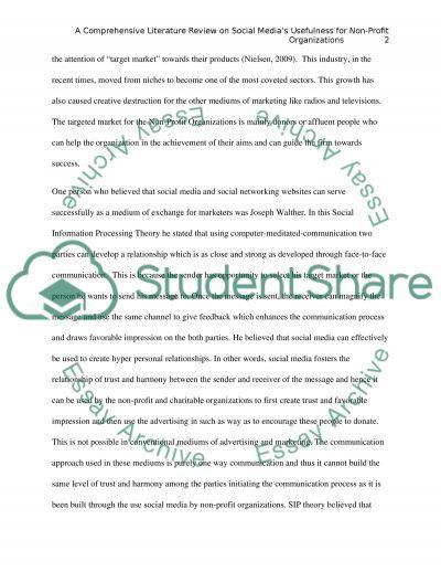 Social Media Impact on the Nonprofit Organizations essay example