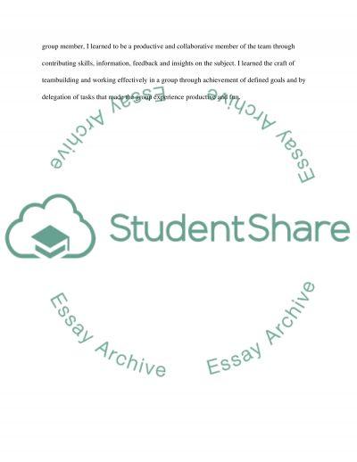 Team work reflection essay example