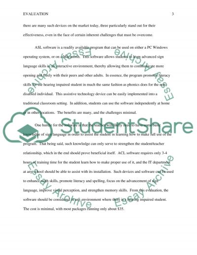 Assignment - Assistive Technology for Visual and Hearning Impairments essay example