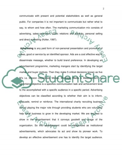 Advertisement and marketing communication Essay example