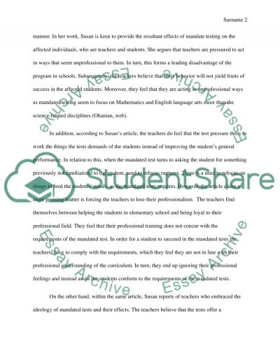 Effect of Mandated Testing on Education essay example