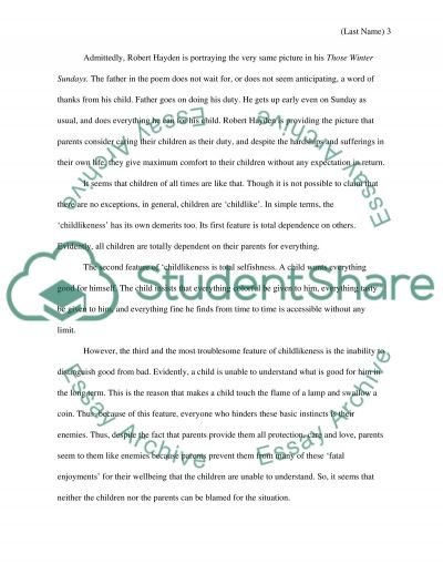 the poem those winter sundays essay example topics and well text