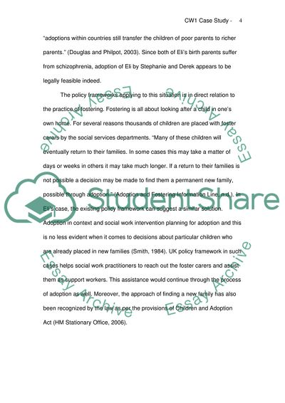 social work placement case study essay