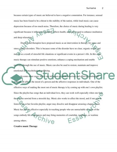Music Therapy Research Paper essay example