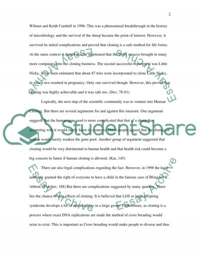 Human and animals Cloning essay example