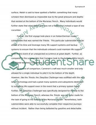 James Cameron-Deepsea Challenge essay example