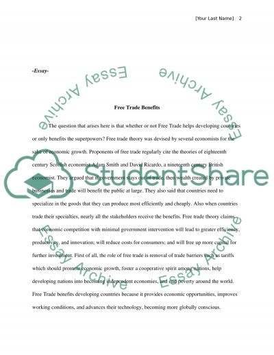 Free Trade benefit essay example