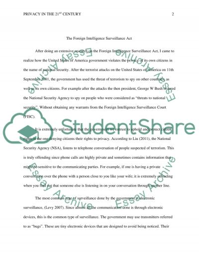 Privacy in the 21st century essay example