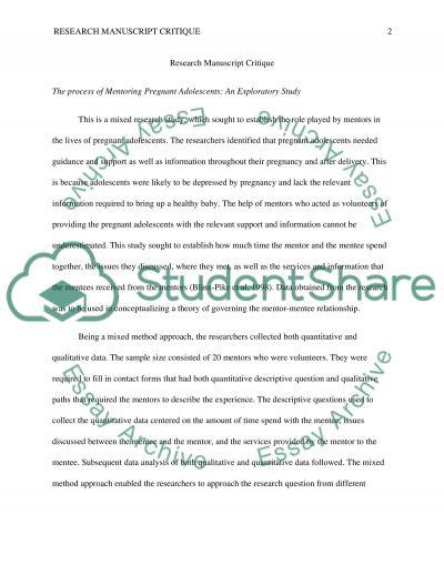 Research manuscript critique essay example