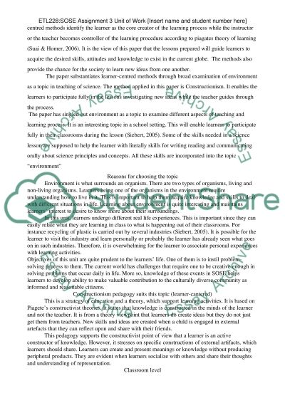 Prepare a SOSE unit of work with rationale essay example