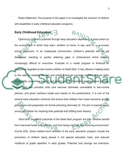 Including Children with Disabilities in Early Childhood Education Programs essay example