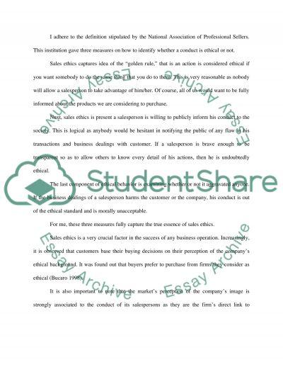 Sales Ethics essay example