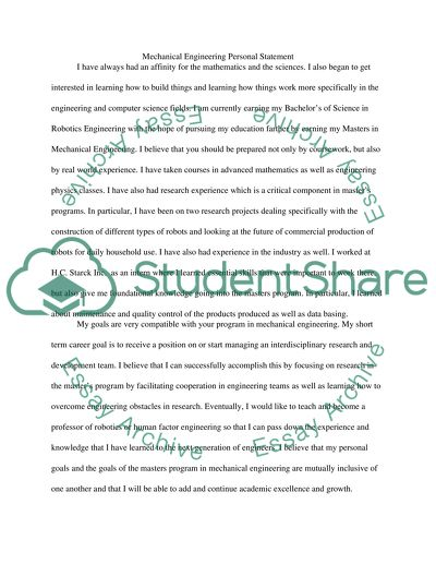 mechanical engineering graduate school personal statement