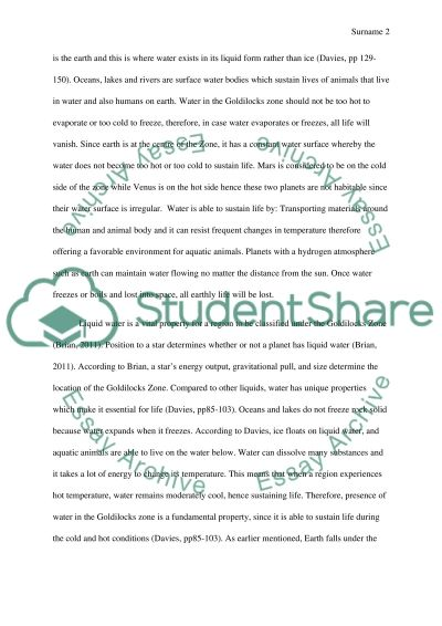 Goldilocks Zone Properties essay example