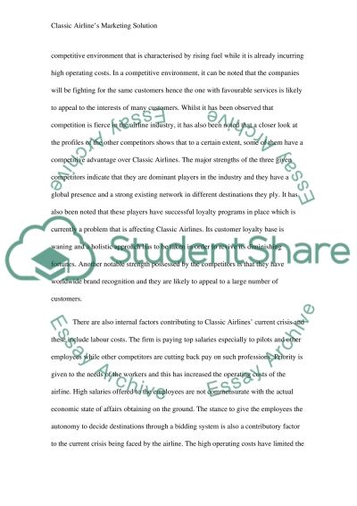 Classic Airlines Marketing Solution essay example