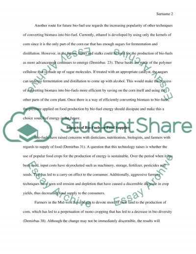 Bio-fuels and Future Energy Needs essay example