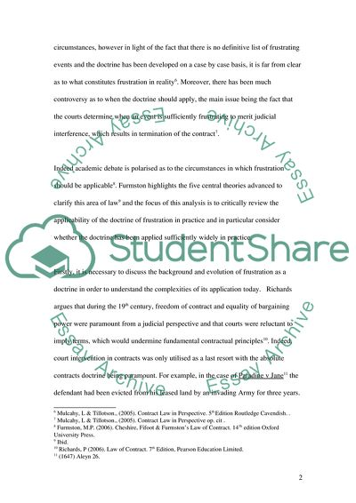 The Doctrine Of Frustration Essay Example  Topics And Well Written  The Doctrine Of Frustration