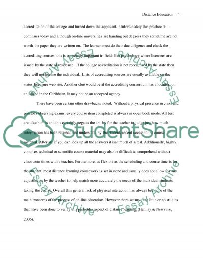 Distace Education: Comparing traditional and online learning essay example