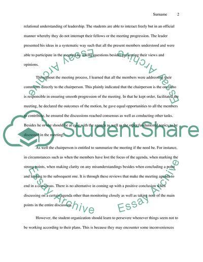 Student organization reflection