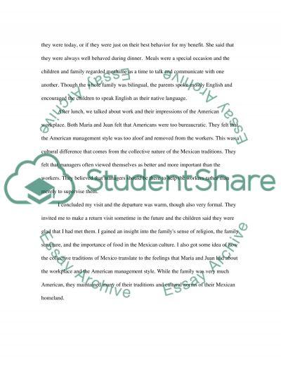 Intercultural Experience essay example