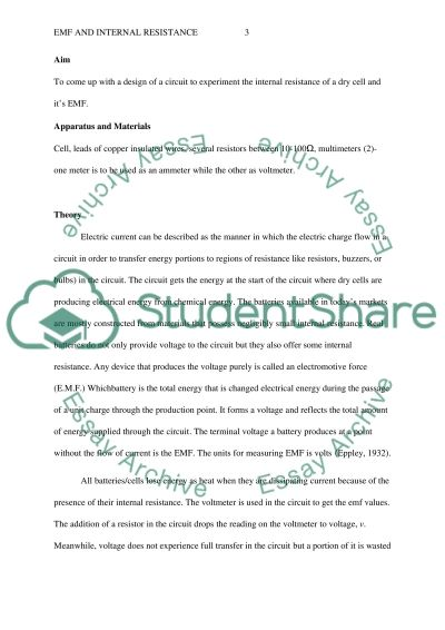 EMF and Internal Resistance Lab Report essay example