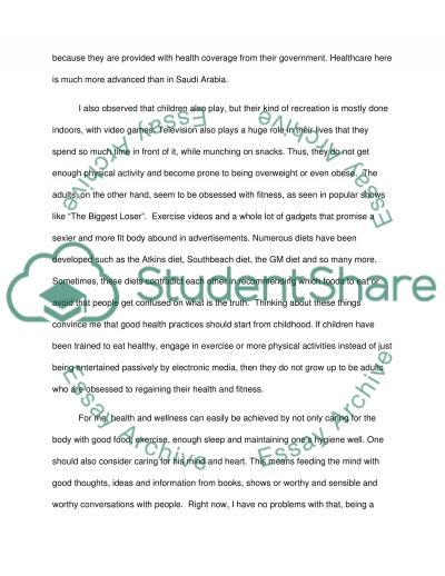 Personal Reflection On Health And Wellness Essay Example
