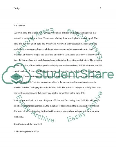 Power hand drill essay example