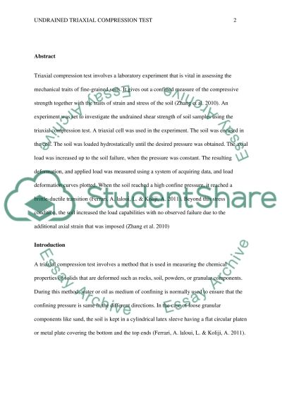 Traxial Lab Report essay example
