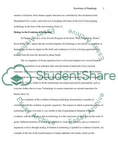 Summary of Readings essay example