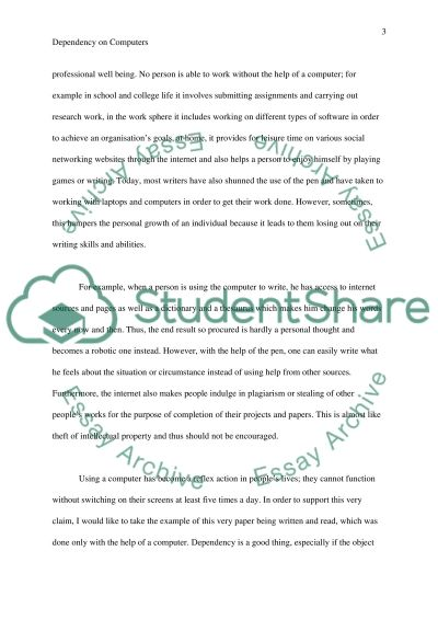 Dependency on Computers essay example