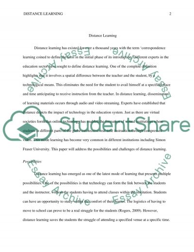 Distance Learning - Possibility and Challenge essay example