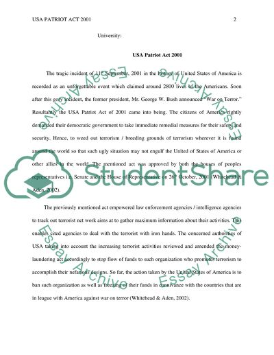 Essays About English Language Patriot Act Last Year Of High School Essay also Sample Essay Thesis Statement Patriot Act Essay Example  Topics And Well Written Essays   Words A Level English Essay Structure