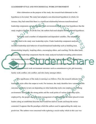Quantitative Article Critique-Nursing leadership style and psychosocial work environment