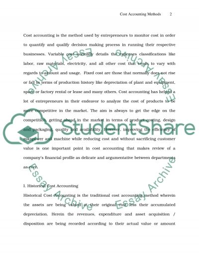 Cost Accounting Methods essay example