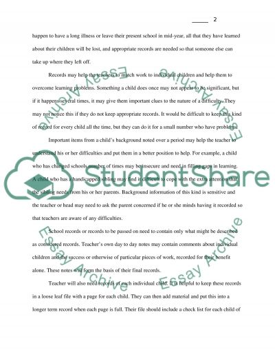 Record Keeping in the Learning Sector essay example