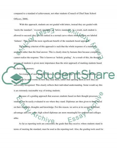 Standards BasedAssessment essay example