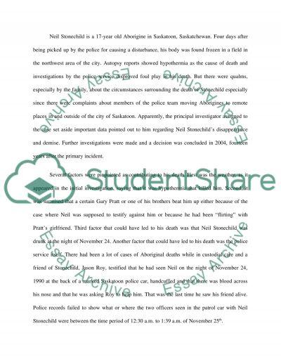 Neil stonechild essay example