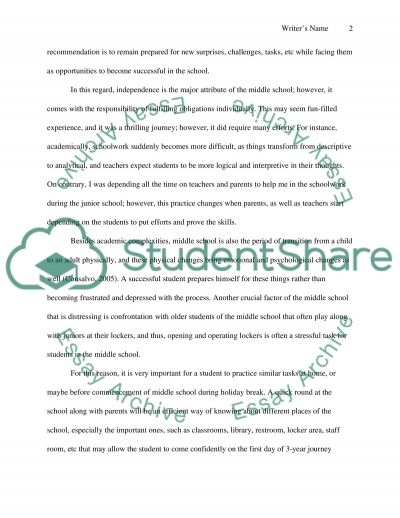 Tips for a 5th Grade Student Entering Middle School (6th Grade) essay example