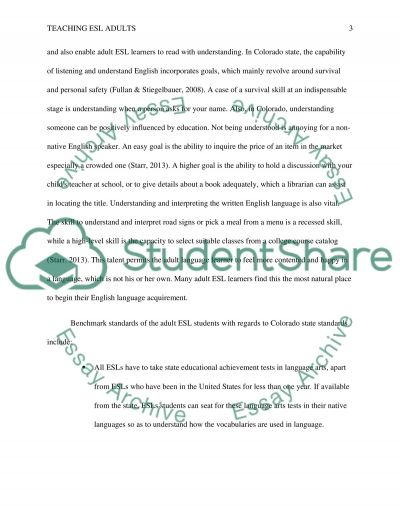 Teaching ESL Adults essay example