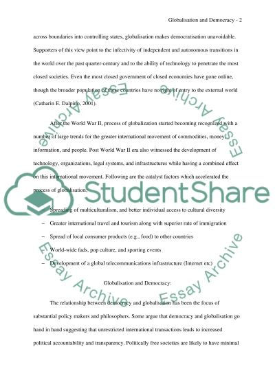 Globalisation and Democracy essay example