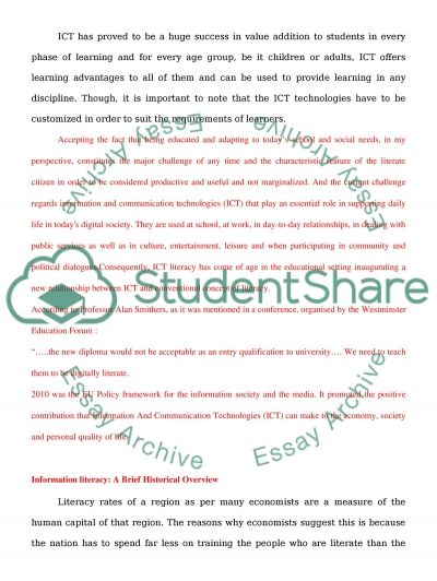 ICT AND LITERACY essay example