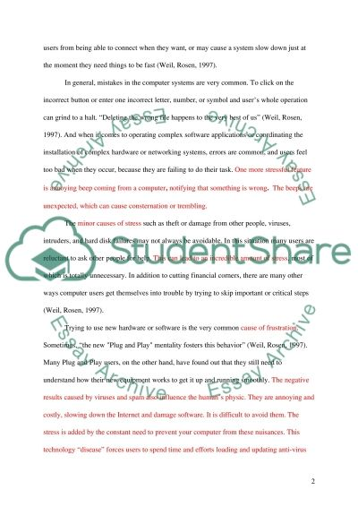Technology stress Essay example