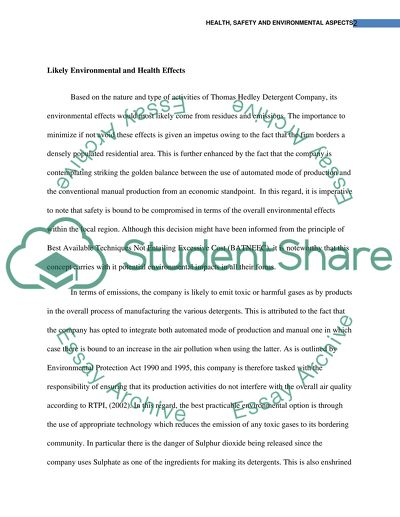 Thesis Statement For Process Essay  Research Paper Samples Essay also Thesis Example For Compare And Contrast Essay Health  Safety And Environmental Aspects Essay Essay Papers Examples